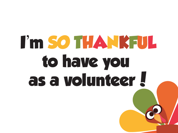 Thanksgiving Thank You Notes Volunteers Childrens
