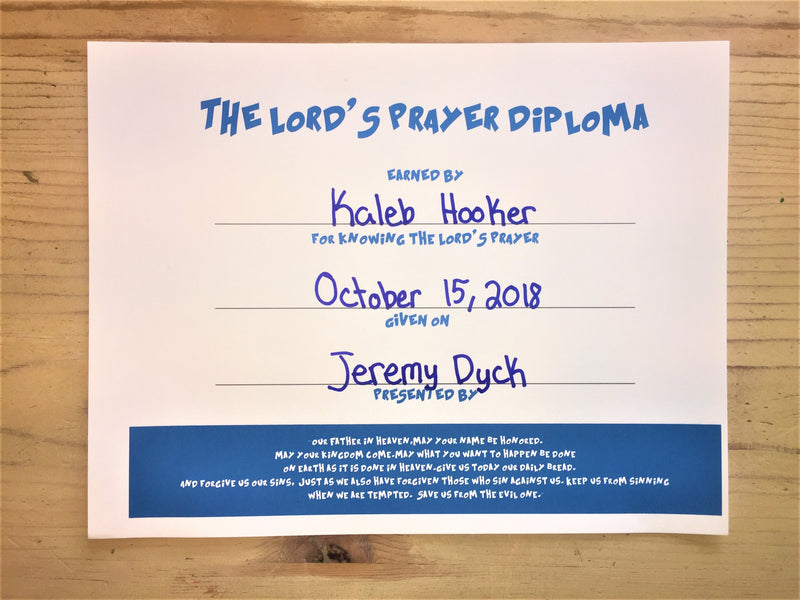 The Lord's Prayer Diploma