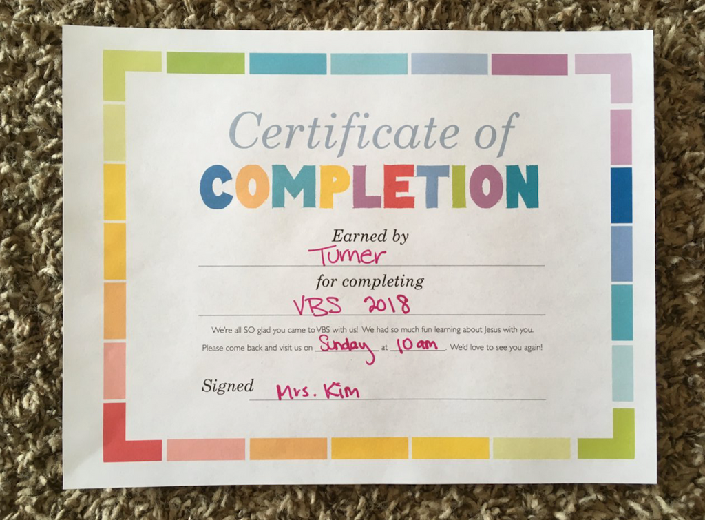 Free Vbs Certificate Of Completion Childrens Ministry Deals