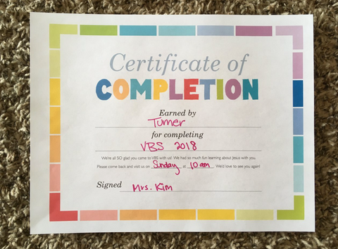 VBS Certificate of Completion