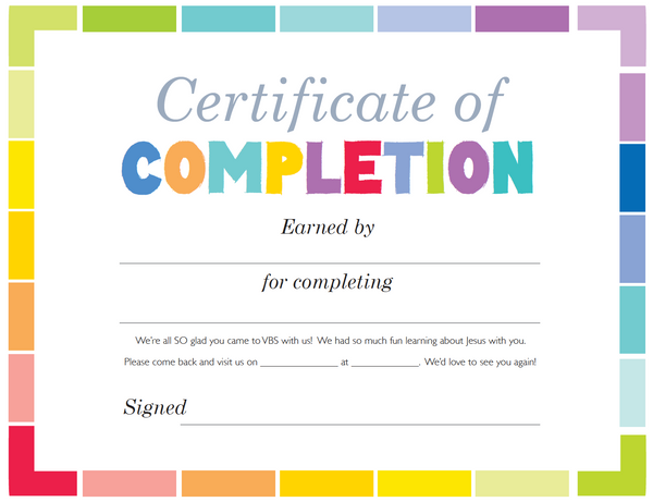 free vbs certificate of completion  u2013 children u0026 39 s ministry deals