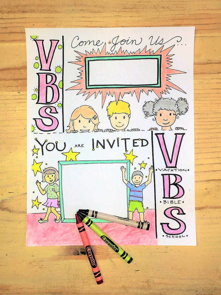 FREE VBS Invitation Coloring Page