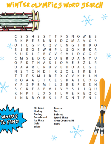 Free Winter Olympics Word Search
