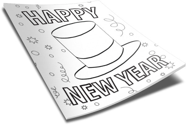 FREE New Year Top Hat Coloring Page