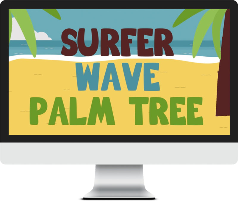VBS Game Video - Surfer, Wave, Palm Tree