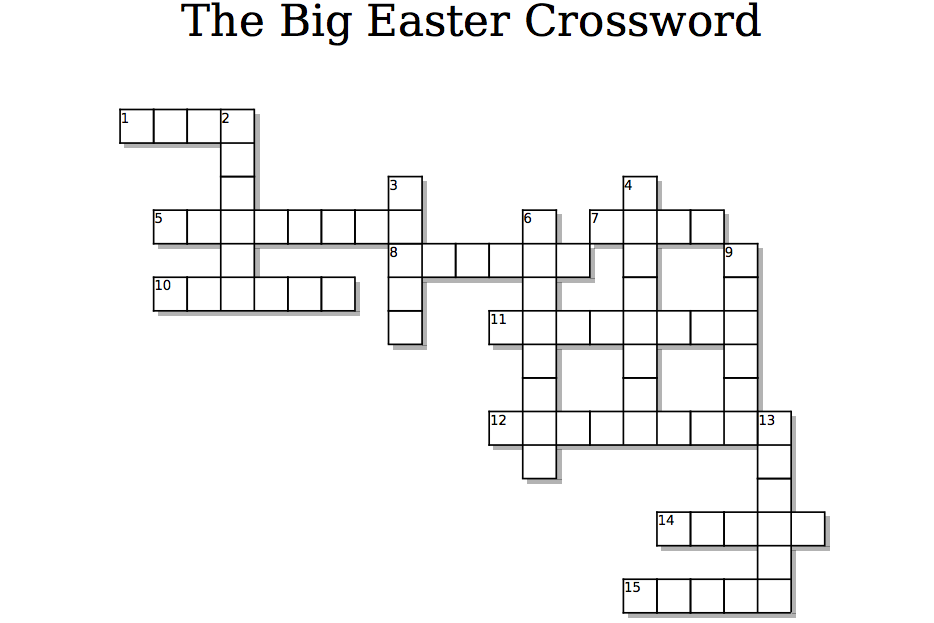 photograph relating to Superhero Crossword Puzzles Printable named Easter Crossword Puzzle