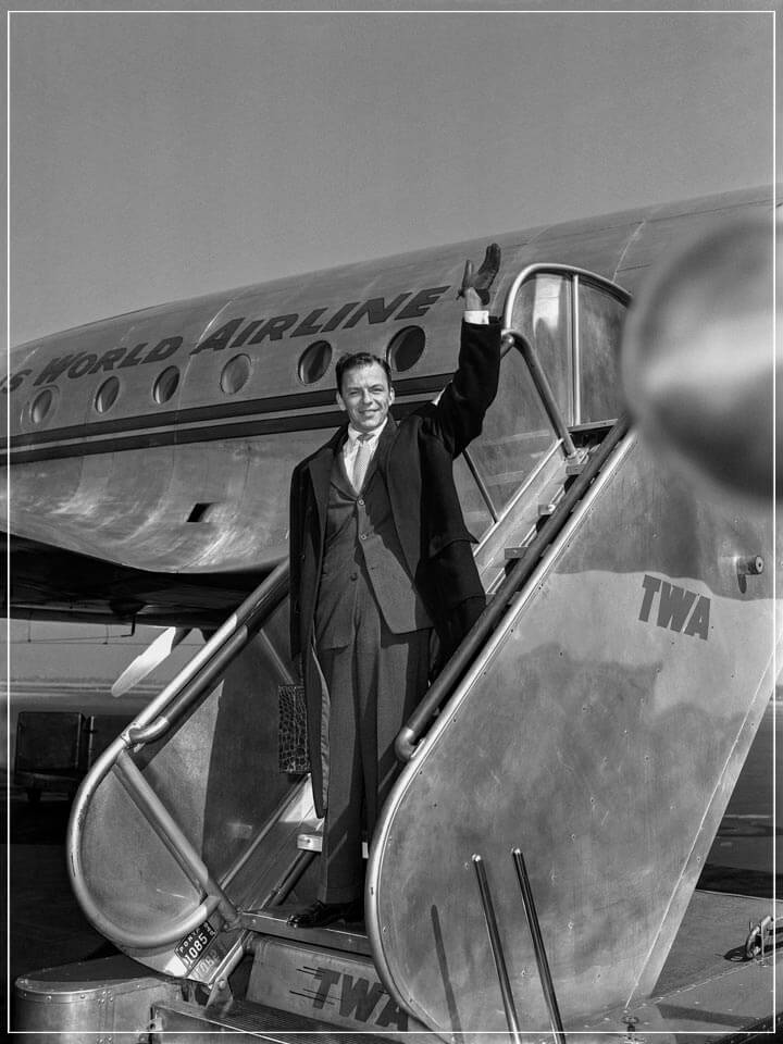 """Frank Sinatra on TWA at La Guardia Airport, NYC"" by Barry Kramer Photography-Artography Limited"