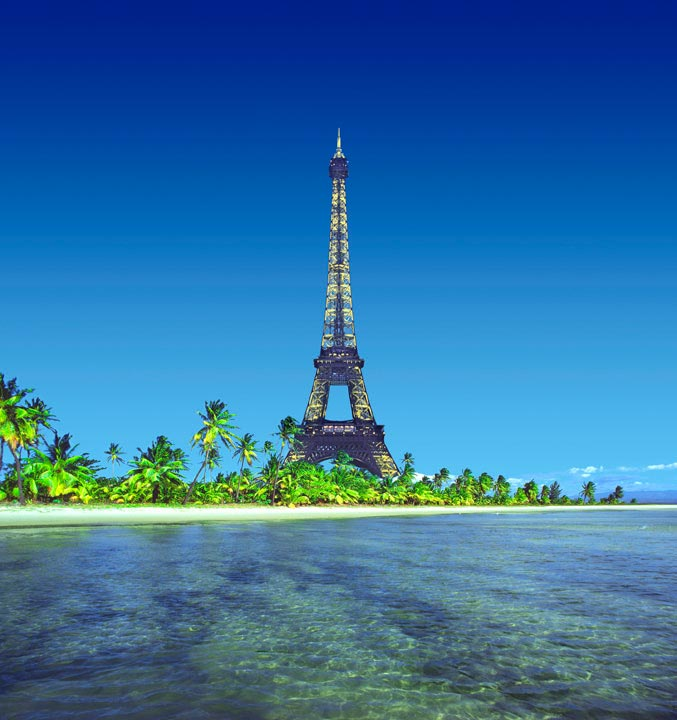 """Eiffel Tower on Island"" by Daniel Furon Photography-Artography Limited"