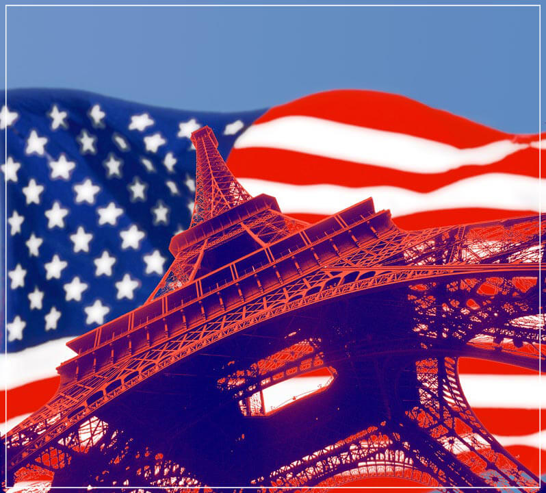 """US Flag, Eiffel Tower"" by Daniel Furon Photography-Artography Limited"