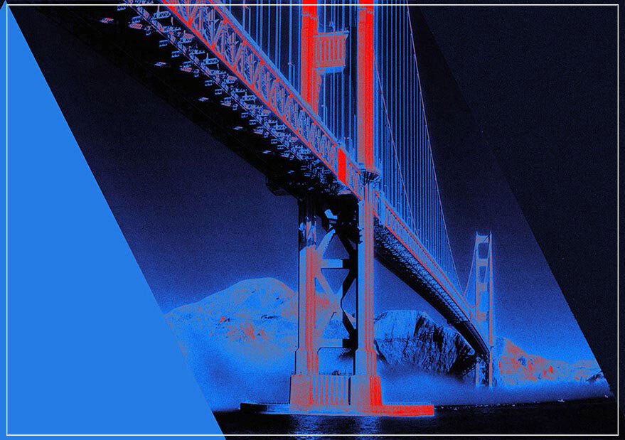 """Golden Gate Bridge, blue"" by Daniel Furon Photography-Artography Limited"