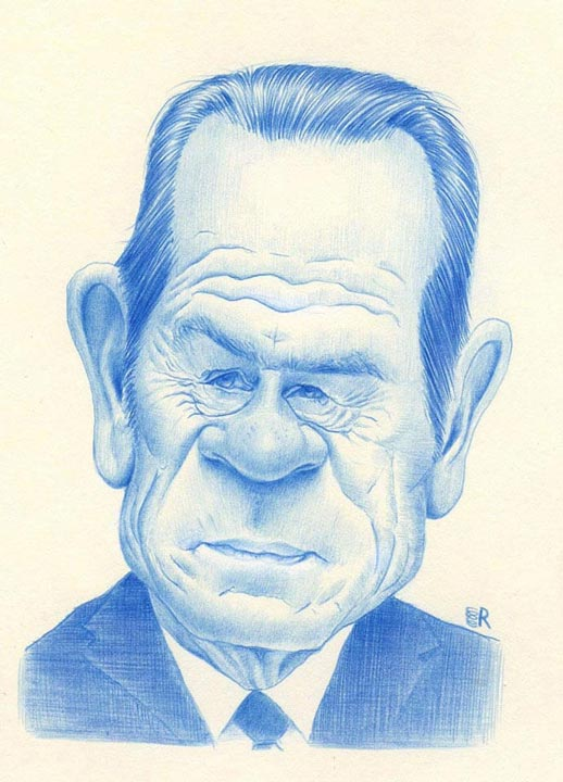 """Tommy Lee Jones"" by Dan Springer, Caricature Art"