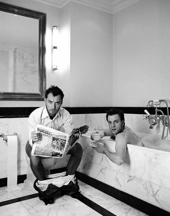 Jude Law and Ewan McGregor in the Bathroom by Lorenzo Agius Photography