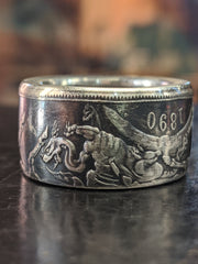1890 English Crown Coin Ring - the Dragon