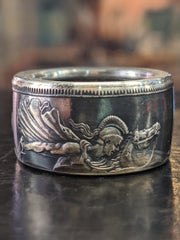 1890 English Crown Coin Ring - St. George Slaying the Dragon