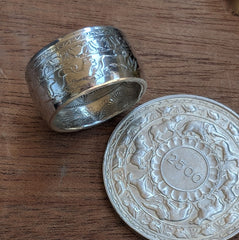 Ceylon 1957 5 Rupees coin ring with coin - Silver State Foundry