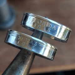 Florida and Texas Silver State Quarter coin rings - Silver State Foundry