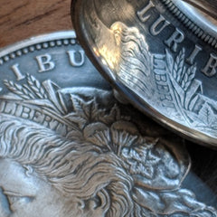Morgan Silver Dollar Coin Ring detail with coin - Silver State Foundry