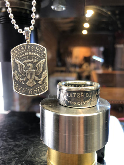 Morgan Silver Dollar Coin Ring & American Pride Dog Tag Necklace