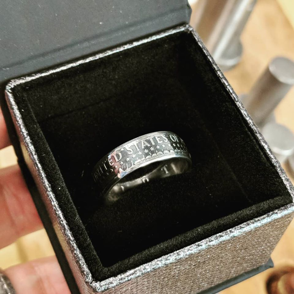 Ready to ship, a silver JFK Half Dollar Coin Ring