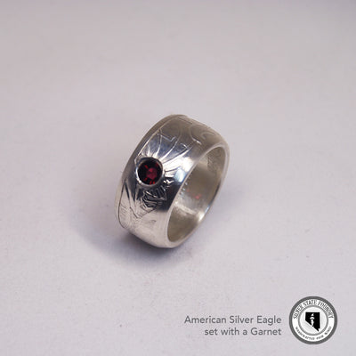 Silver Eagle Coin Ring with Gemstone