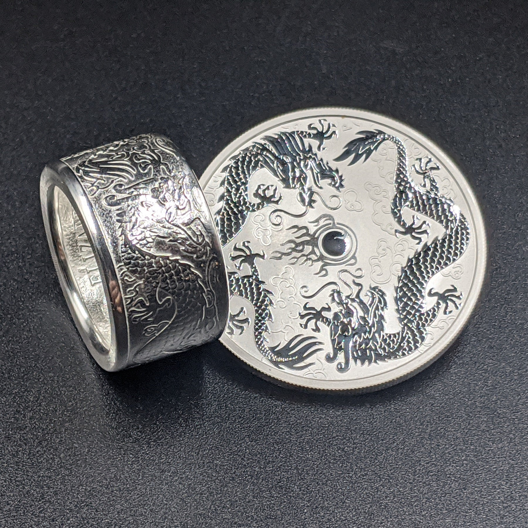 Australian Double Dragon Coin Ring