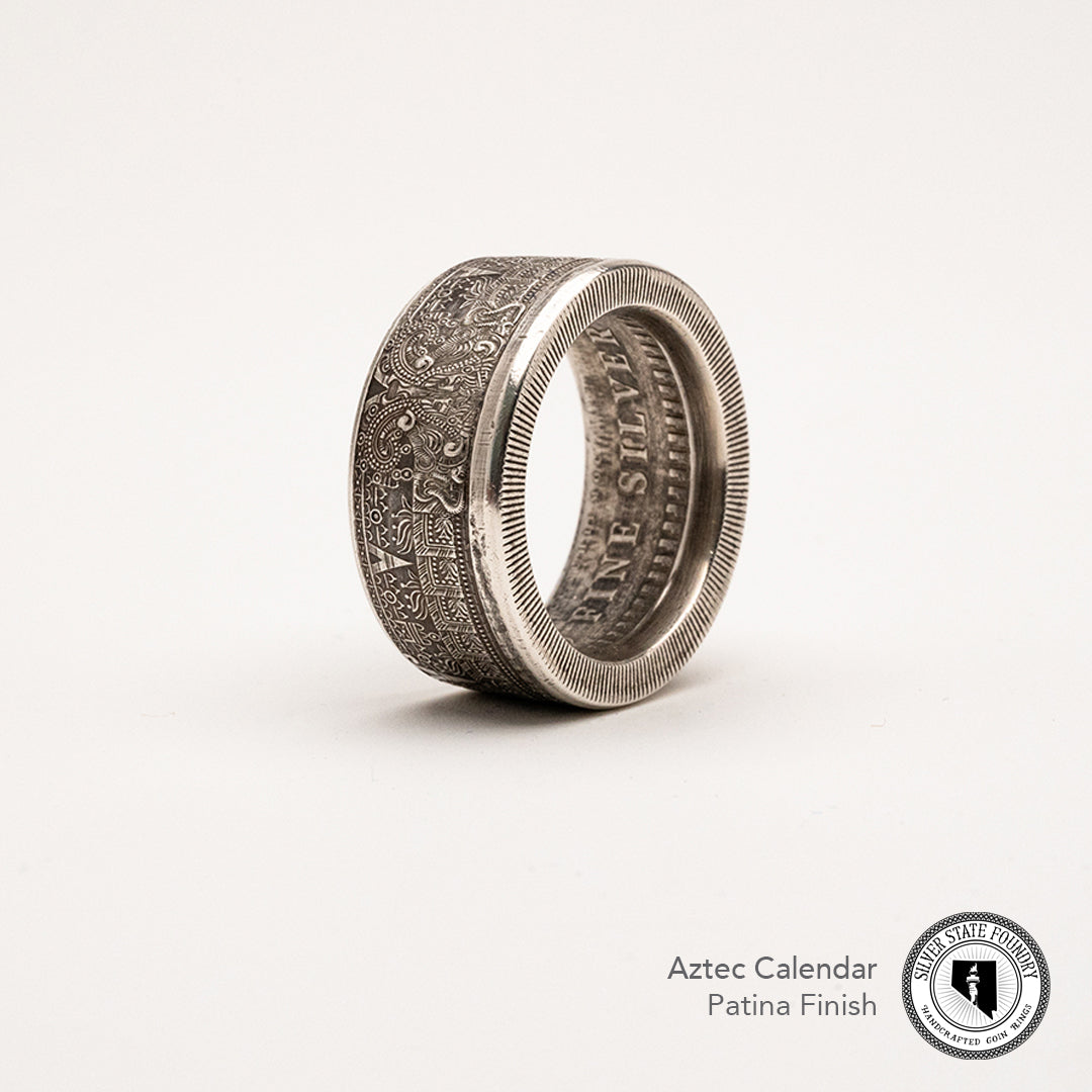 Aztec Calendar Coin Ring