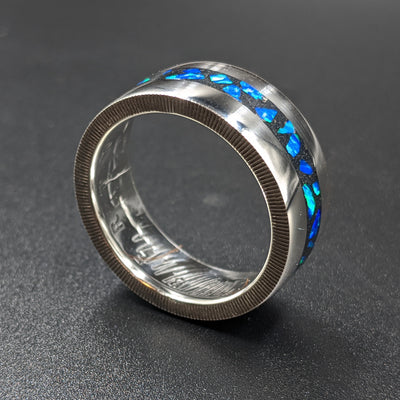 coin ring with cremation ash inlay