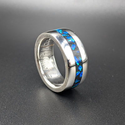 cremation jewelry as a coin ring with azure blue opal inlay