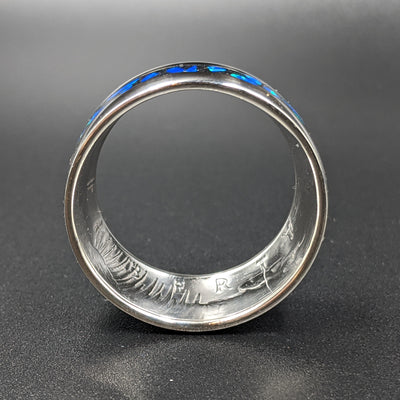 face view of a cremation ash coin ring