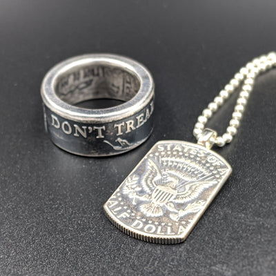 Don't Tread On Me Silver Coin Ring & American Pride Dog Tag Necklace