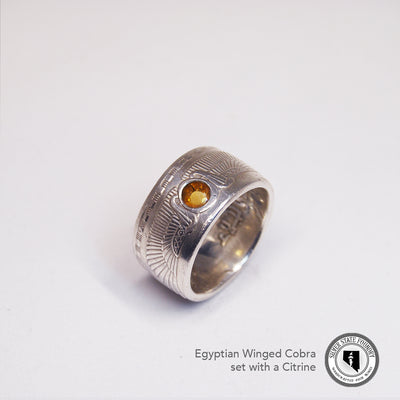 Egyptian Cobra Coin Ring with Gemstone