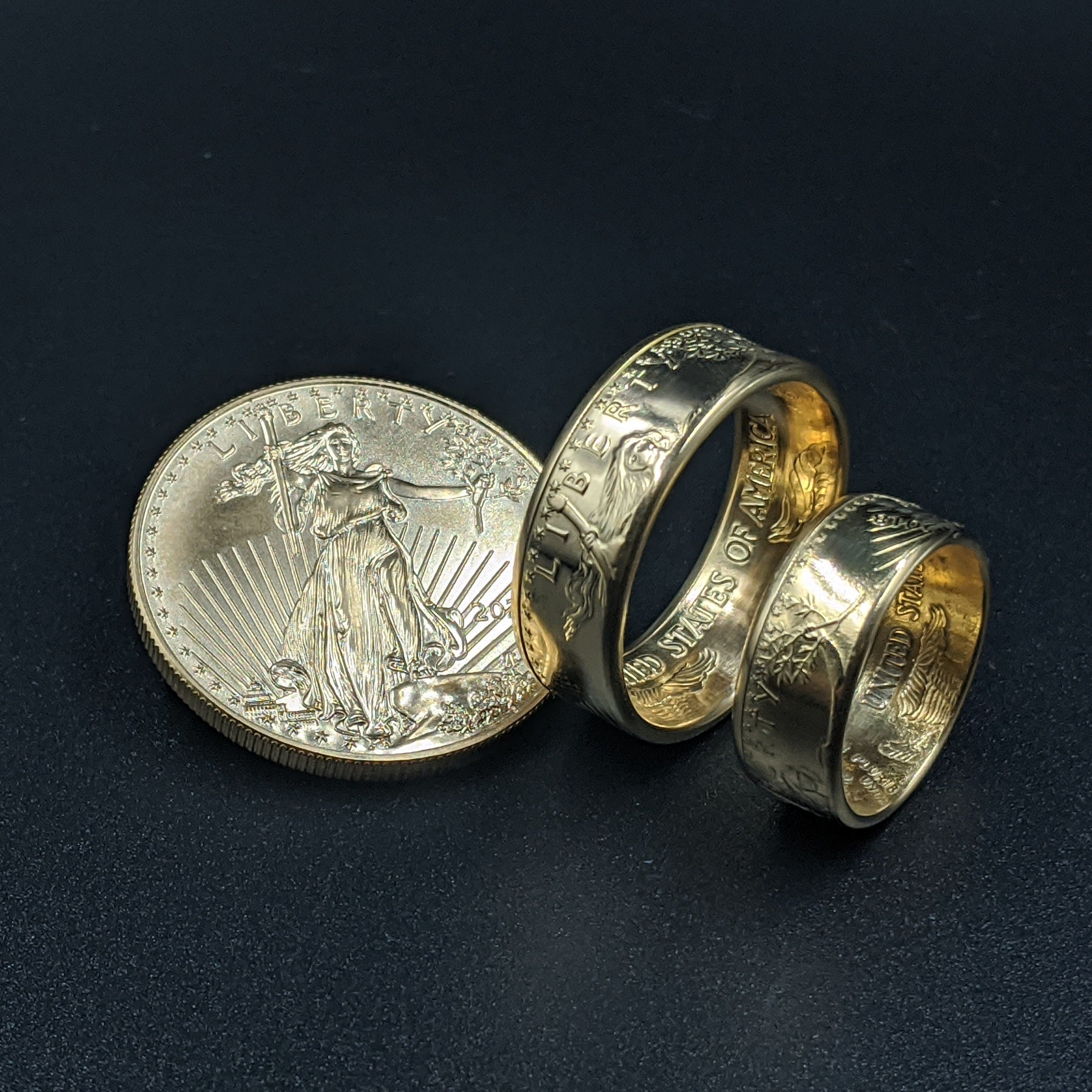 American Gold Eagle wedding band set with gold eagle coin