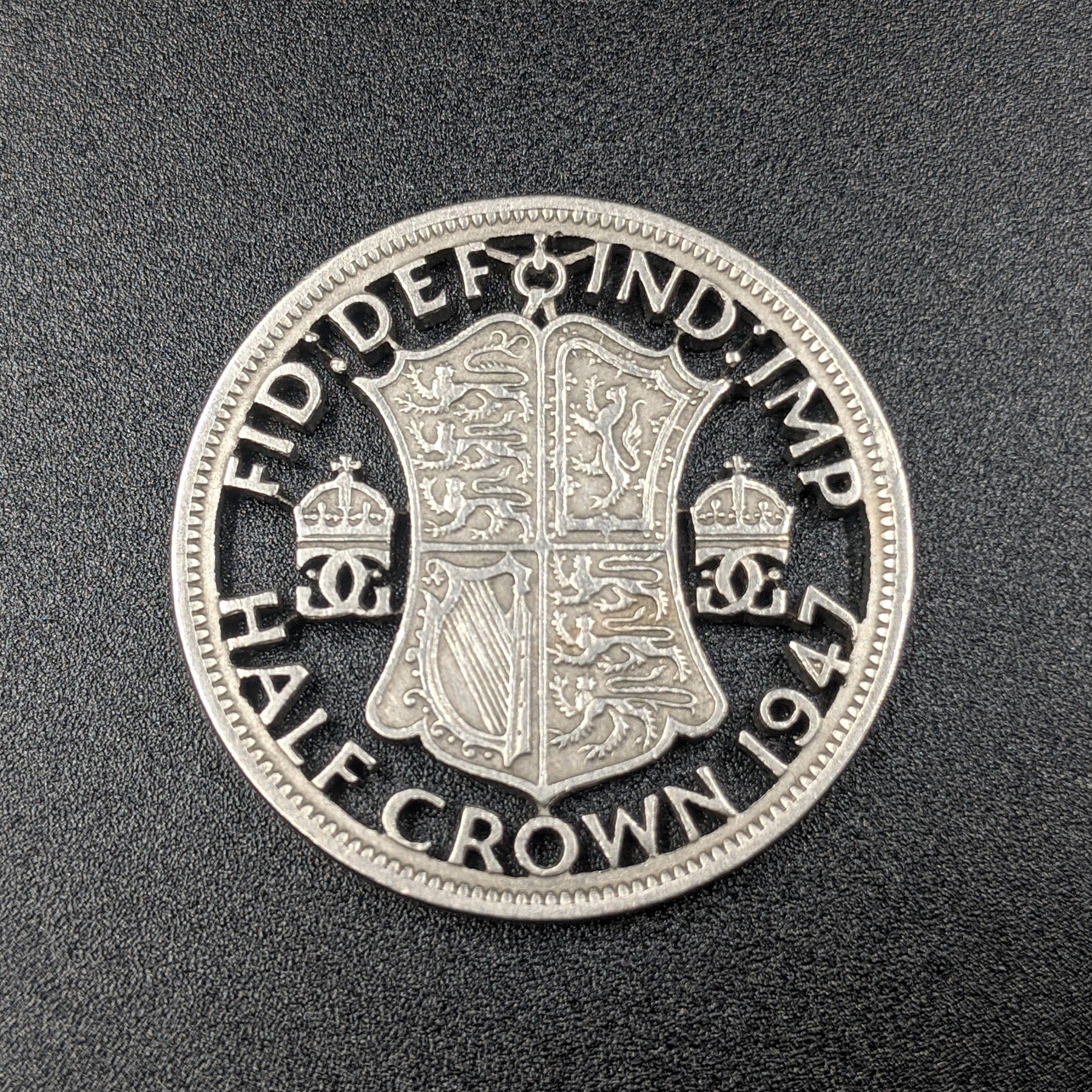 1947 Half Crown Cut Coin