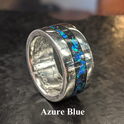 Color sample - azure blue opal inlay