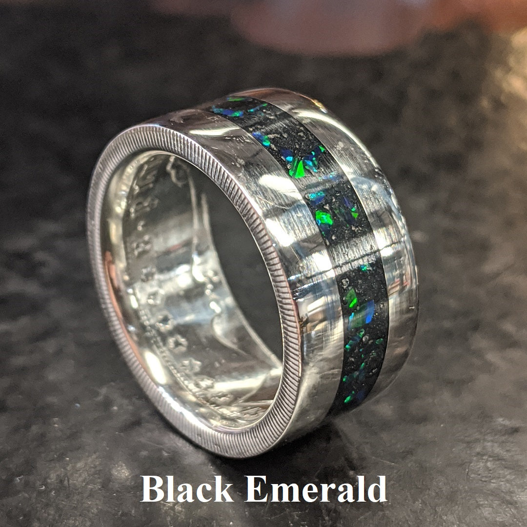 Color sample - black emerald opal inlay