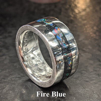 Color sample - fire blue opal inlay