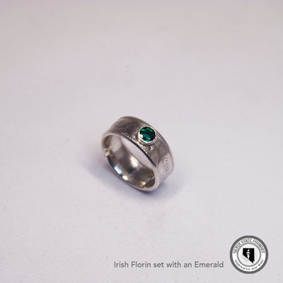 Irish Silver Florin Coin Ring with Gemstone
