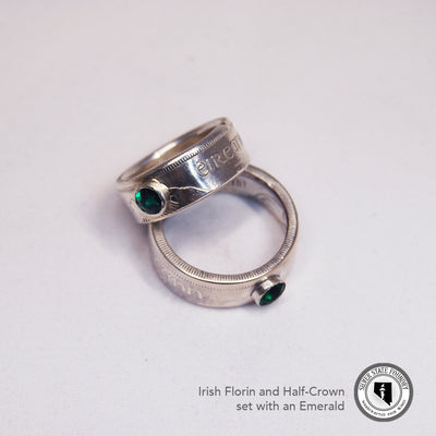 Irish Silver Half Crown Coin Ring with Gemstone