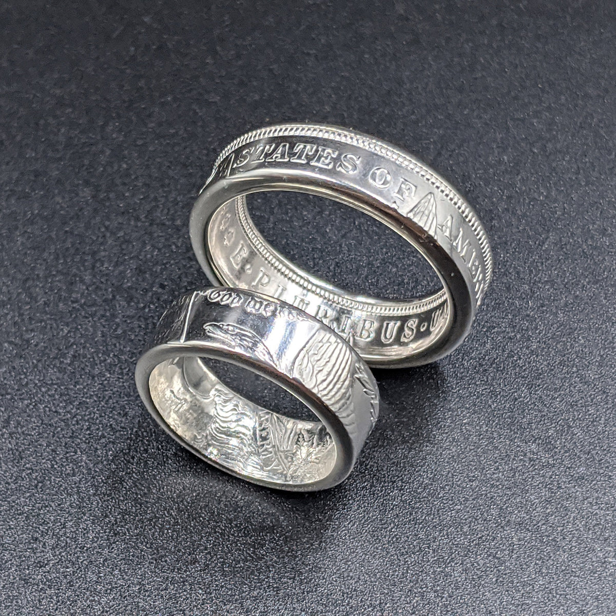 Morgan Silver Dollar Wedding Band Set