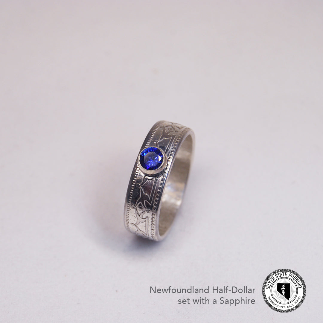 Newfoundland 50 Cent Coin Ring with Gemstone