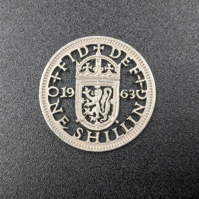 1963 One Shilling Cut Coin