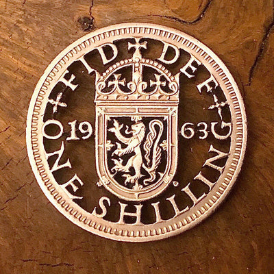 1963 One Shilling Cut Coin by Stuart Richards, offered by Silver State Foundry
