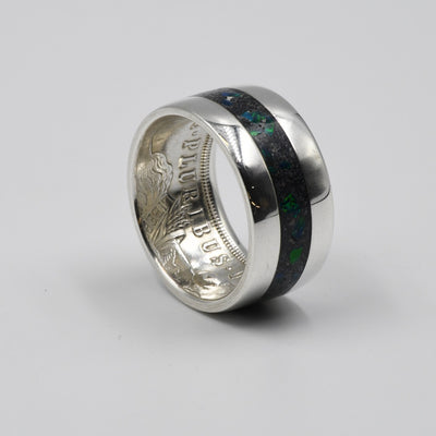 black emerald opal inlay example in a cremation ash coin ring