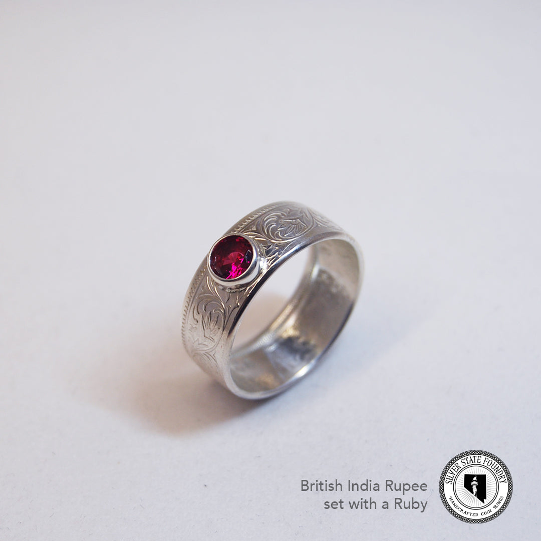 Silver British India One Rupee Coin Ring with Gemstone