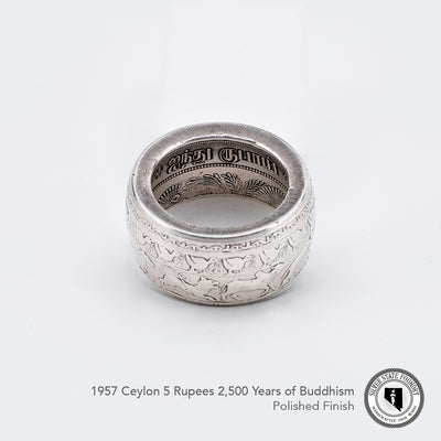 Ceyon (Sri Lanka) 5 Rupees coin ring celebrating 2500 years of buddhism