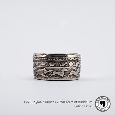 Buddhism Celebration coin ring with Patina finish