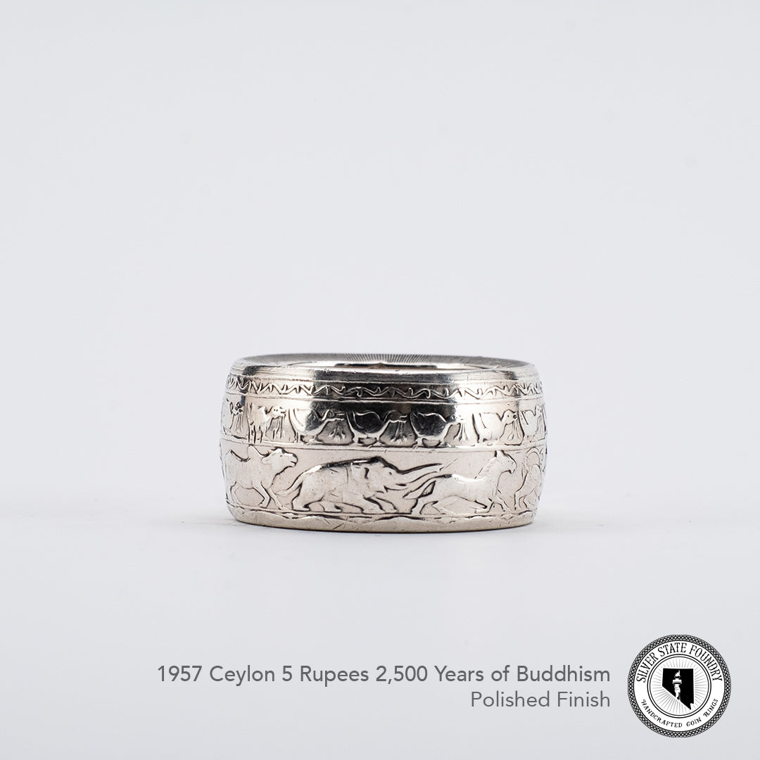 Buddhism Celebration coin ring with a polished finish