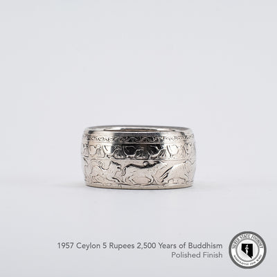 Rare and beautiful 1957 Ceylon 5 Rupees coin ring