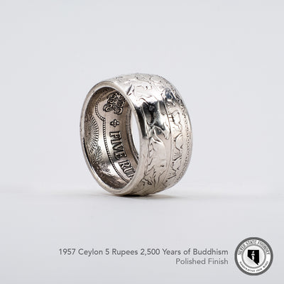 Celebrating 2500 years of Buddhism with this 1957 Ceylon 5 Rupees coin ring