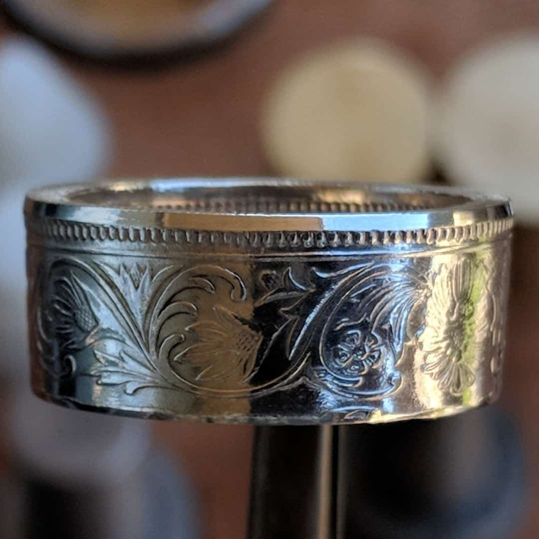 Silver British India One Rupee Coin Ring - 1847-1901